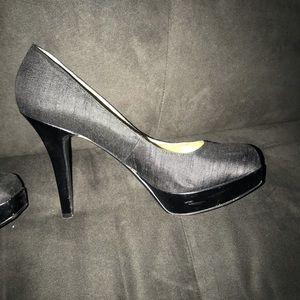 Black platform square toe pump